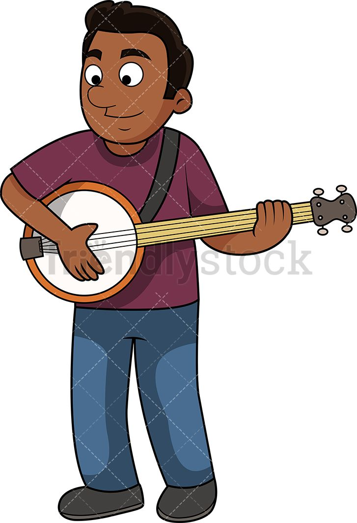 Banjo clipart crossed. Black guy playing the