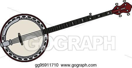 Vector classic five strings. Banjo clipart drawn