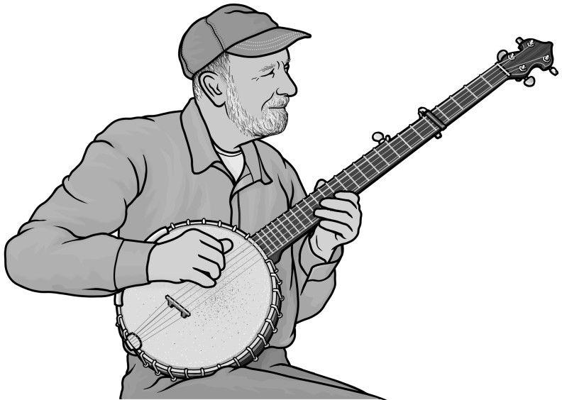 Banjo clipart ektara. Longneck plucked string instrument