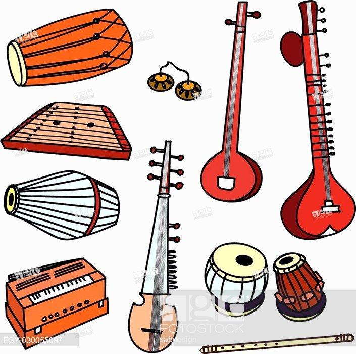 Isolated traditional indian instruments. Banjo clipart ektara