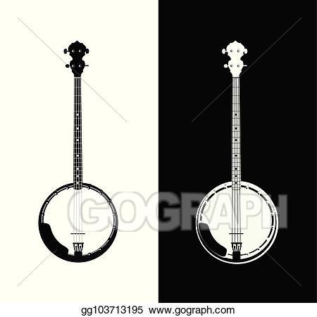 Vector stock in black. Banjo clipart folk music