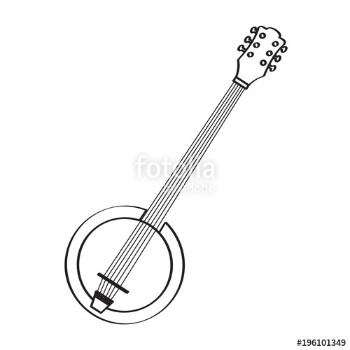 Banjo clipart laud. Isolated icon musical instrument