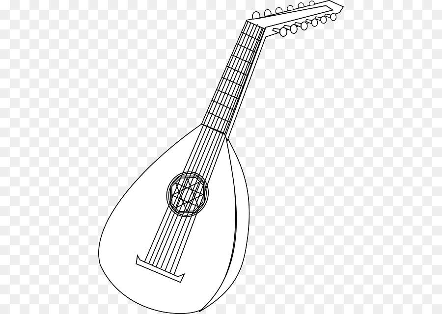 Book black and white. Banjo clipart laud