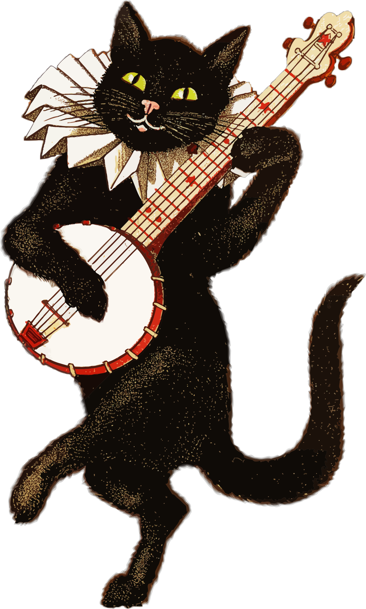 Vintage animal playing music. Clipart mountain retro