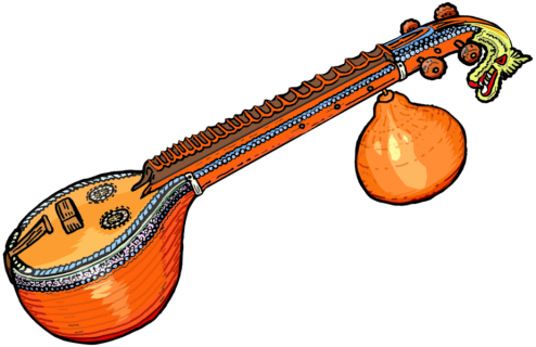 Banjo clipart saraswati veena. India