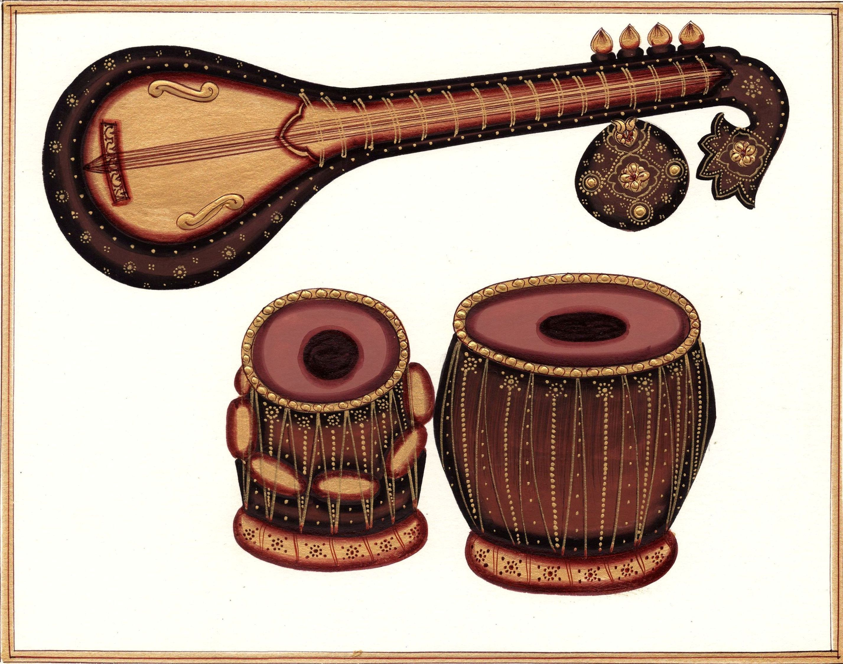 Banjo clipart saraswati veena. Indian miniature painting tabla
