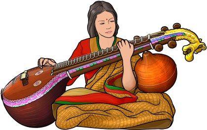 Banjo clipart saraswati veena. Player december th pinterest