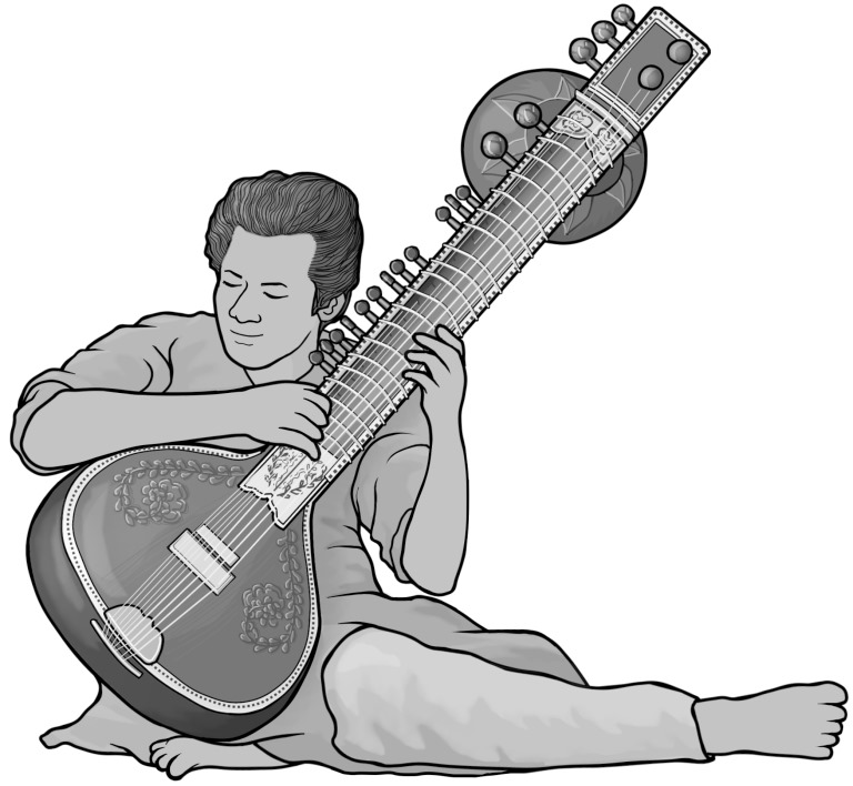 Grayscale free images sitar. Banjo clipart sarod