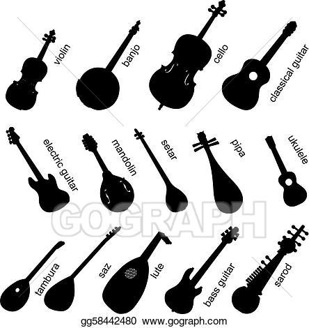 Vector art musical instruments. Banjo clipart sarod