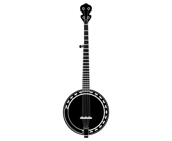Musical instrument svg graphics. Banjo clipart silhouette