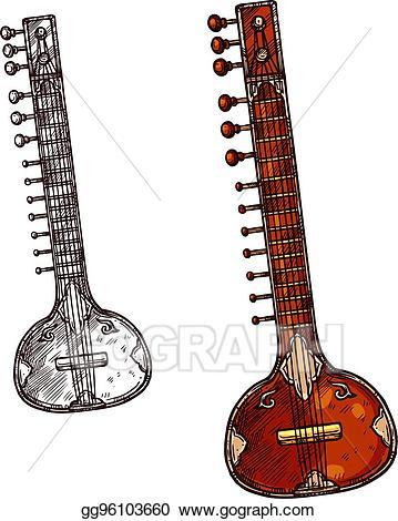 Banjo clipart sitar instrument. Vector illustration indian musical