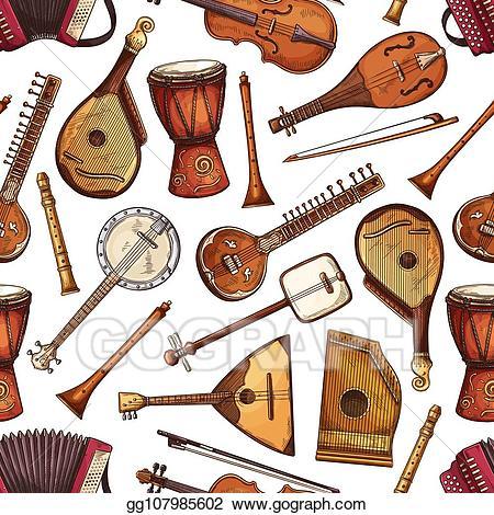 Banjo clipart sitar instrument. Vector stock folk musical