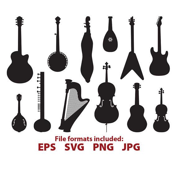 Banjo clipart svg. String instruments guitar violin