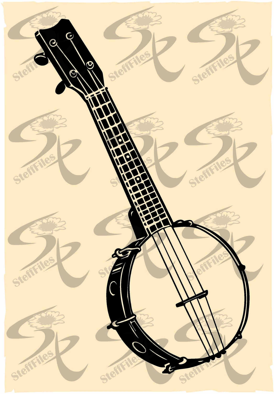 Vector musical instrument art. Banjo clipart svg