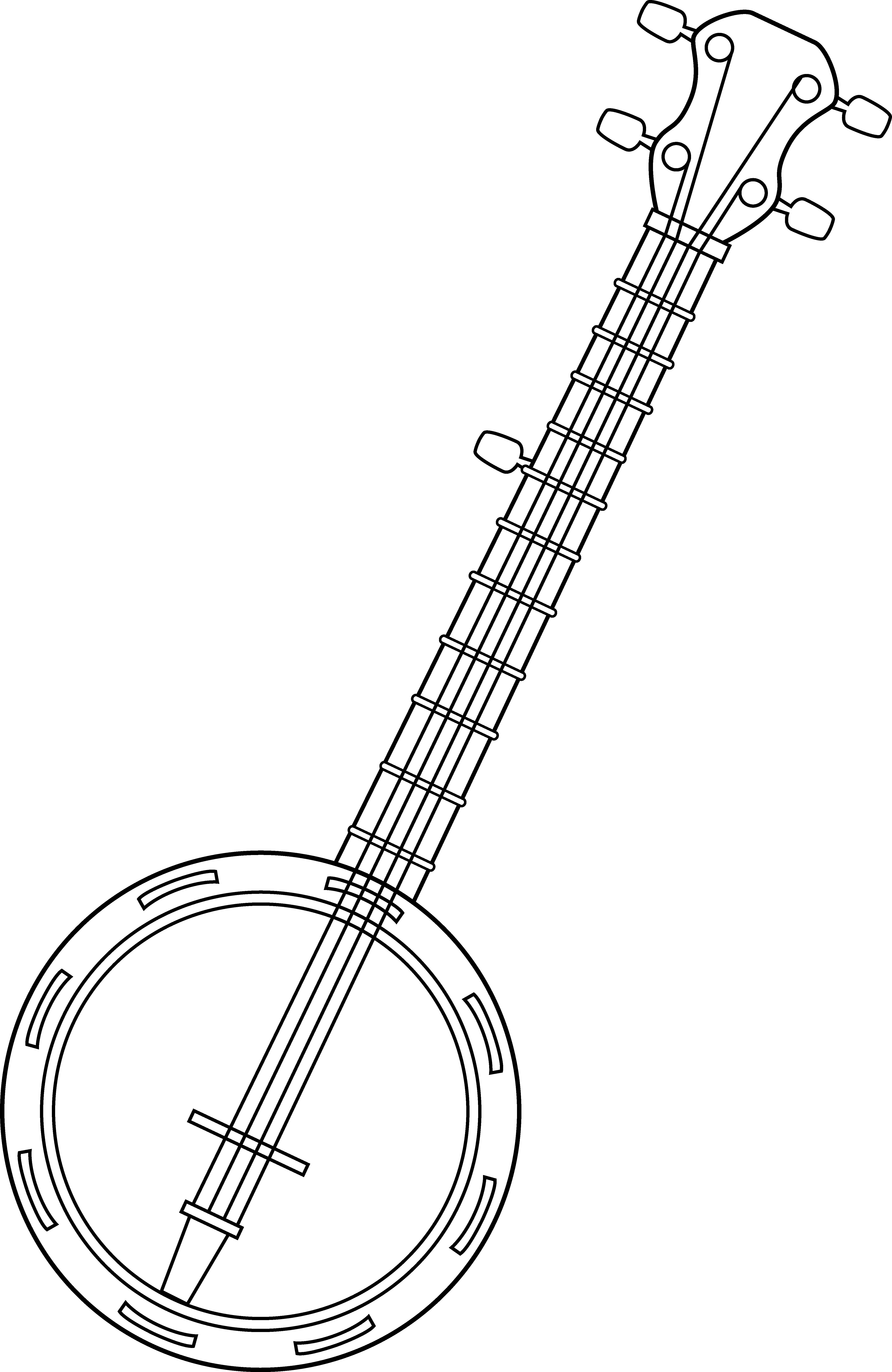 Colorable line art free. Banjo clipart transparent