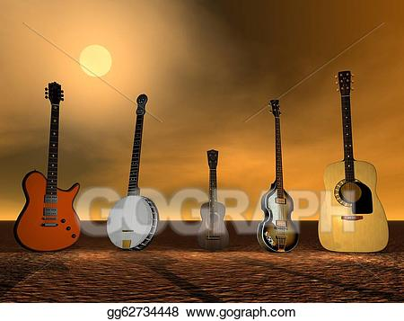Banjo clipart ukulele. Stock illustration guitars and