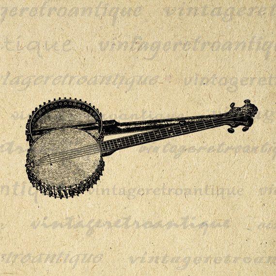 Banjo clipart veena. Digital image antique download