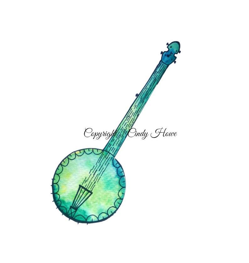 Png file transparent musical. Banjo clipart watercolor