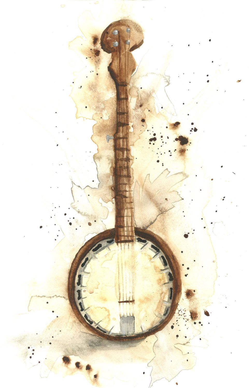 Banjo clipart watercolor. Pin by vintgchic on