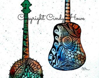 Guitar watercolors etsy set. Banjo clipart watercolor