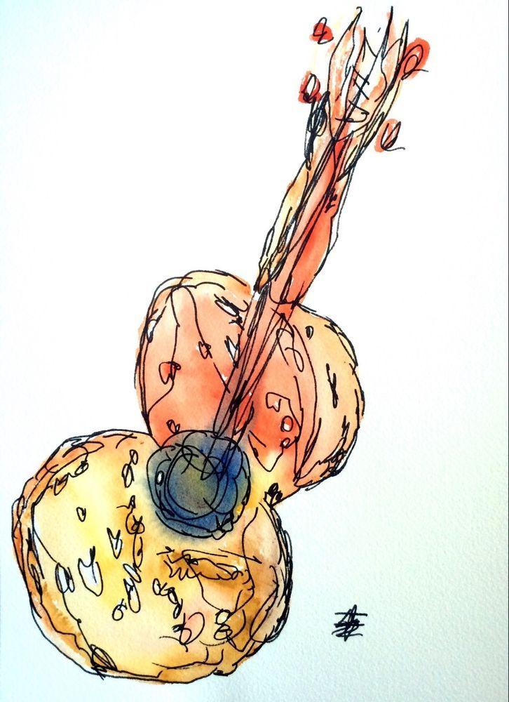 Banjo clipart watercolor. Guitar painting art modernism