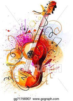 Banjo clipart watercolor. Guitar art print abstract