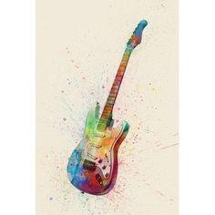 Guitar art print abstract. Banjo clipart watercolor
