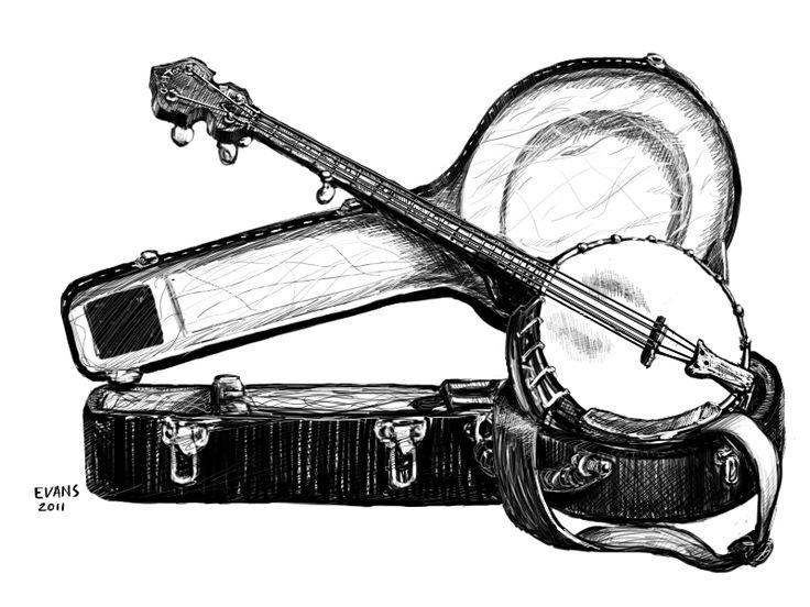 best drawing banjos. Banjo clipart watercolor