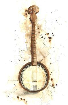 Brady scott fine art. Banjo clipart watercolor
