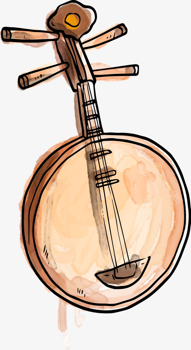 Banjo clipart watercolor. Vector drawing musical instruments