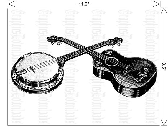 Banjo clipart western guitar. Items similar to printable