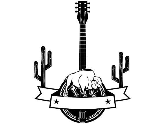 Cowboy logo buffalo cactus. Banjo clipart western guitar