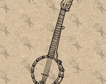 Etsy vintage image country. Banjo clipart western guitar