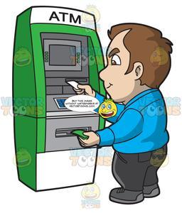 Bank clipart atm clipart. A man getting money