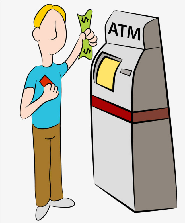 Cartoon illustration withdrawal illustrations. Bank clipart atm clipart