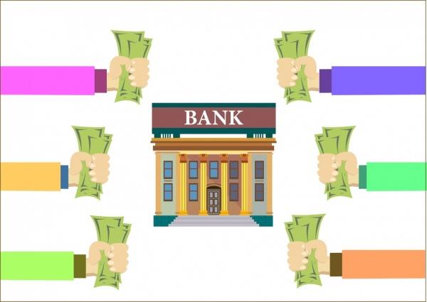 Bank clipart bank money. Saving demand concept hands