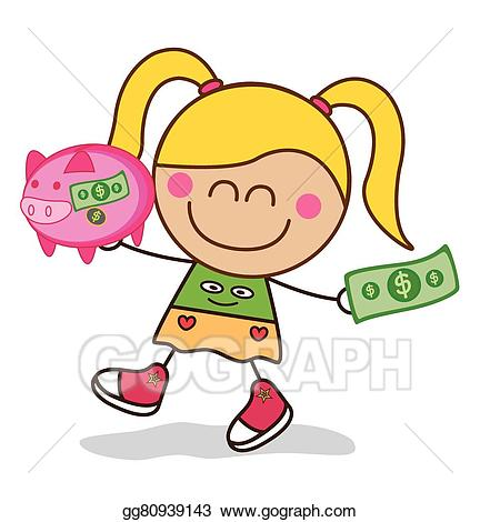Bank clipart bank money. Vector stock girl saving