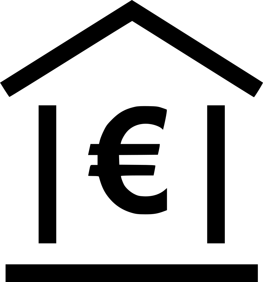 Online home loan euro. Bank clipart bank sign