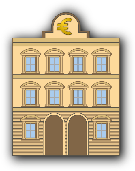 Bank clipart bank sign. Building with euro clip