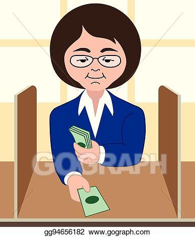 Eps vector stock illustration. Bank clipart bank teller