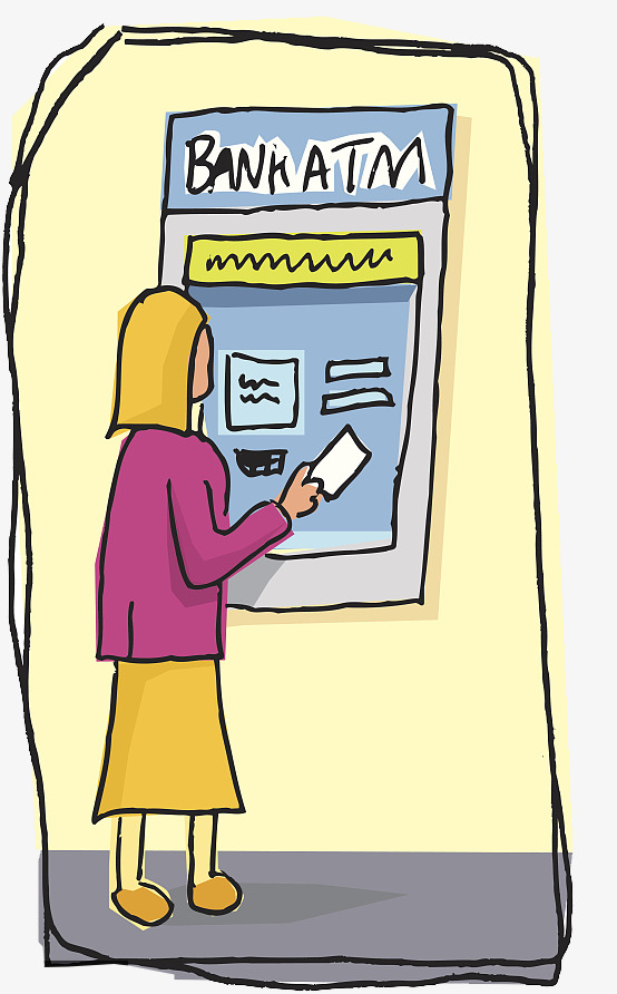 Hand painted atm withdrawals. Bank clipart cartoon
