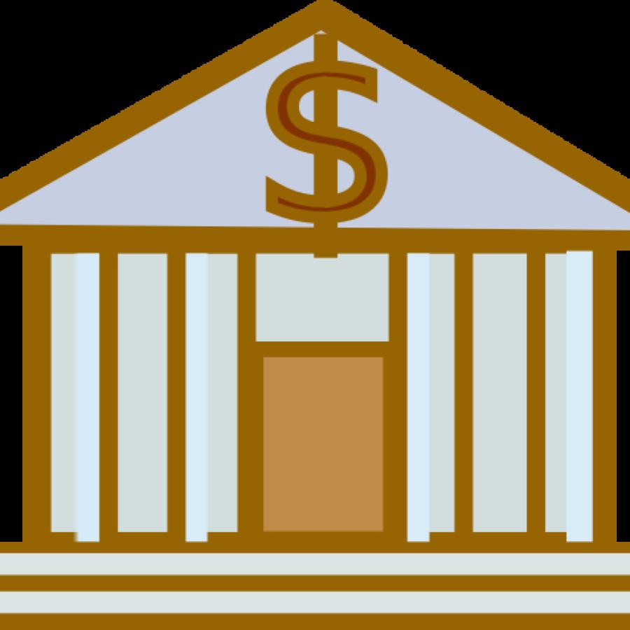 Bank clipart cartoon. Yellow text transparent clip