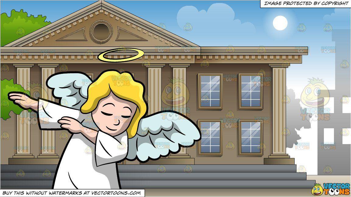 A dabbing angel and. Bank clipart cartoon
