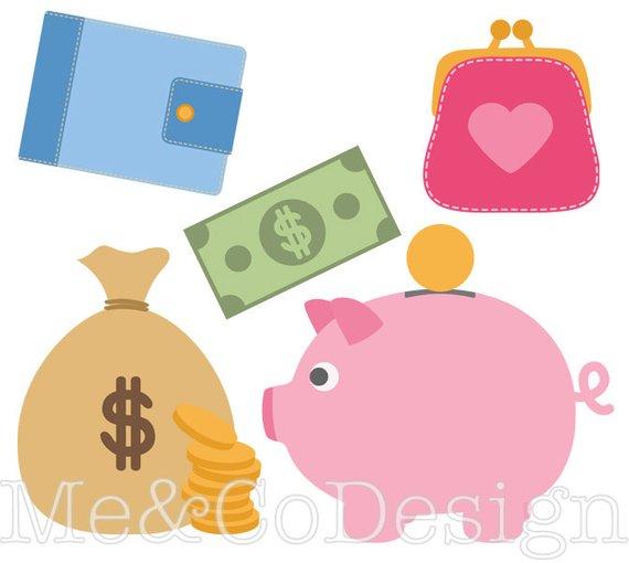 Banking fun piggy planner. Bank clipart cute