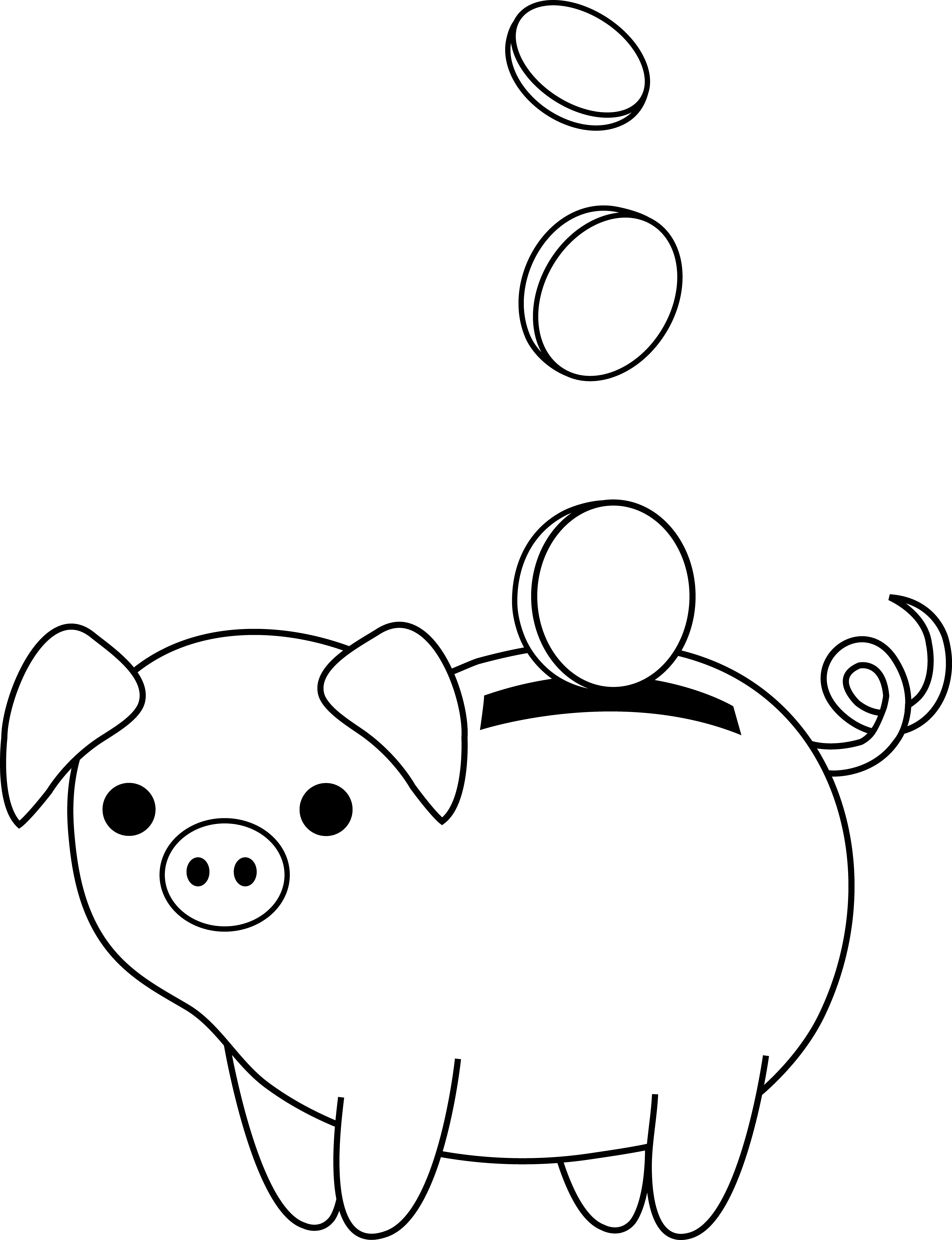 Finance clipart black and white. Piggy bank colorable line