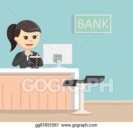 Vector bank teller illustration. Banker clipart female