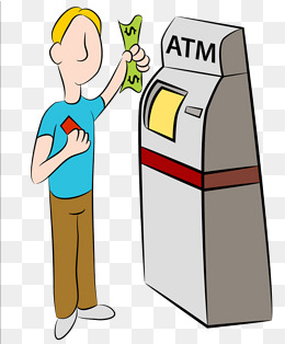 Cartoon hand painted atm. Bank clipart illustration