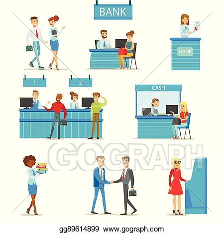 Vector service professionals and. Bank clipart illustration