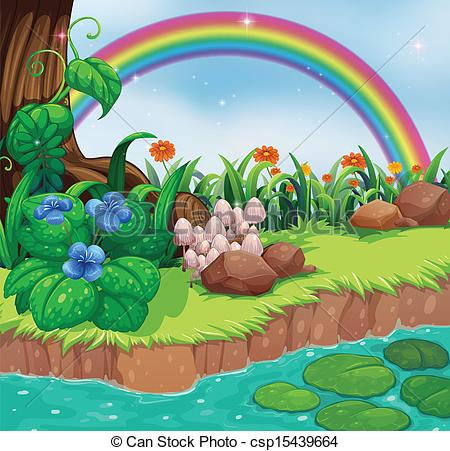 River pencil and in. Bank clipart illustration