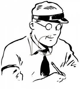 A retro cartoon of. Bank clipart male